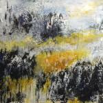 Nadelwald mit Lärchen - Acryl auf Papier 2013 (39x39cm)