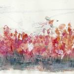 Flamingos II - Acryl und Kreide auf Papier 2015 (57x19cm)
