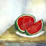 Stillleben mit Melone - Acryl auf Papier 2013 (60x43cm)